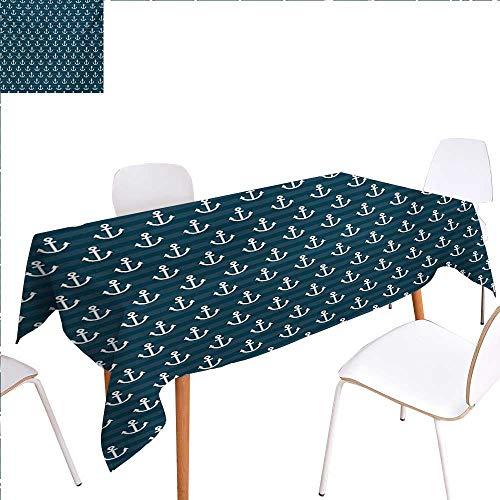 familytaste Nautical Rectangular Tablecloth Anchor Pattern Marine Themed Symmetric Adventure Cottage Ship Boat Motif Oblong Wrinkle Resistant Tablecloth 70