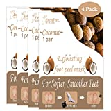 Dr. Entre's Exfoliating Foot Peel Mask   4 Coconut Pairs   Natural Exfoliant For Smooth Baby Soft Feet, Dry Dead Skin Treatment, Repair Rough Heels, Callus Remover Sock Booties