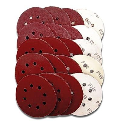 Astron Top 5-Inch Sanding Disc, 8-Hole, Hook & Loop, 20 Each of 5 Grits 60/80/120/180/240, for Random Orbital Sander, DC81100R