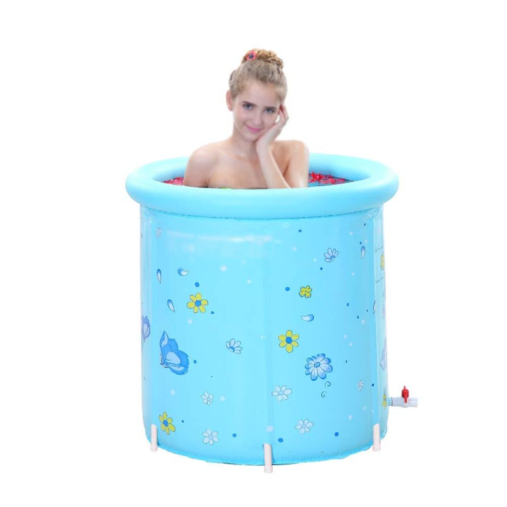 GYZ Plastic Bathtub Portable Folding Inflatable, Adult Large freestanding Bathtub, Round Bathtub, Blue Inflatable hot tub