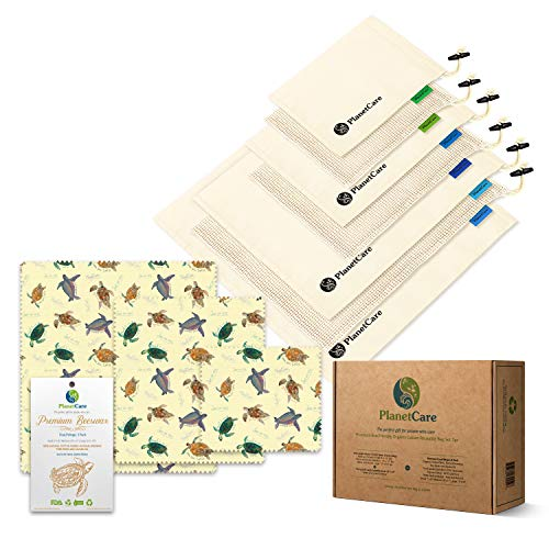PlanetCare PREMIUM reusable cotton mesh & muslin produce bags with swaddle sheet 7pc & premium BEESWAX WRAPS 3pc: The ultimate ECO friendly Gift: 100% ORGANIC, 100% BIODEGRADABLE, Plastic FREE