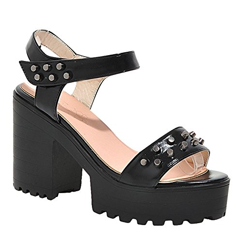 Mee Shoes Damen Blockabsatz Klettband Plateau Sandalen Schwarz