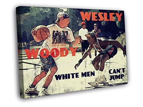 White Men Can't Jump Movie Retro Art Vintage Painting Basketball Woody Wesley Streetball 40x30 Framed Canvas Print