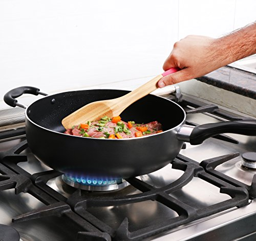 Utopia Kitchen - 11 Inch Nonstick Deep Frying Pan - 4.6 Quart Sauté Pan - Aluminum Jumbo Cooker with Glass Lid - Dishwasher Safe by Utopia Kitchen (Image #3)