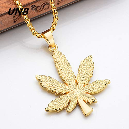(Skeleton Leaves - UNB 2017 New Gold Silver Plated Cannabiss Small Weed Herb Charm Necklace Maple Leaf Pendant Necklace Hip Hop Jewelry Wholesale)