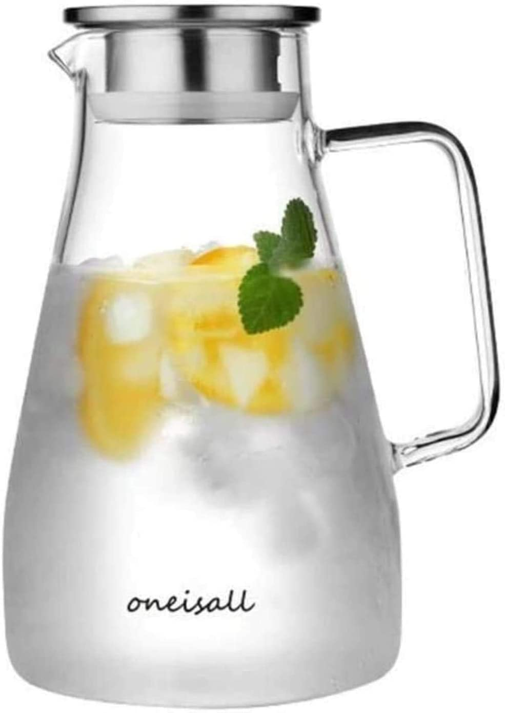 High temperature resistant glass jug/Water Jug Glass Teapot Pitcher with Lid Iced and Handle Borosilicate Heat-Resistant Glass Jug for Tea/hot Cold Water/ice Wine Coffee Milk Juice Beverage Carafe wit