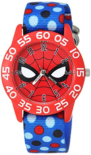 Marvel Boy's 'Spider-Man' Quartz Plastic and Nylon Casual Watch, Color:Blue (Model: WMA000185)