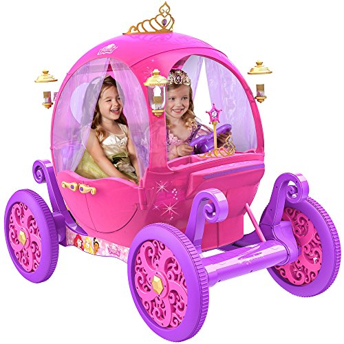 (Disney Princess Carriage Ride-On with Light and Sound Effect, Pink)