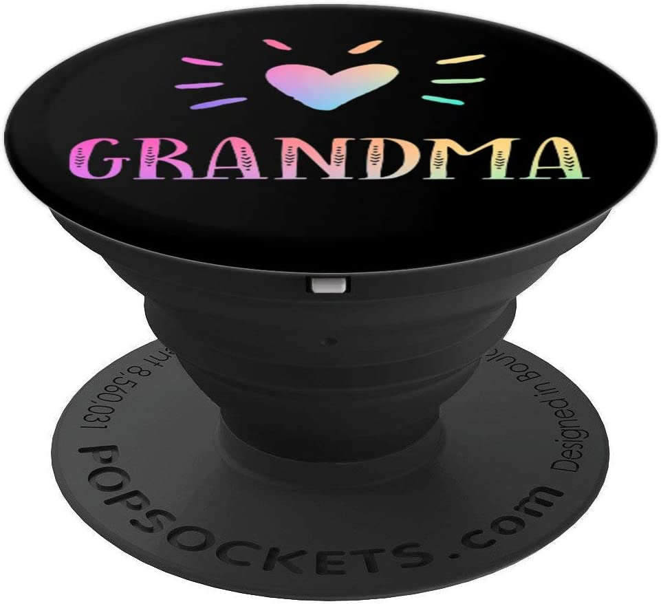 Grandma Gift Heart Rainbow Watercolor Love Name Grandma PopSockets Grip and Stand for Phones and Tablets