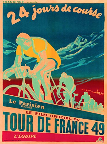 A SLICE IN TIME 1949 Tour De France Bicycle Race Paris French Vintage Travel Home Collectible Wall Decor Advertisement Art Poster Print. 10 x 13.5 inches.
