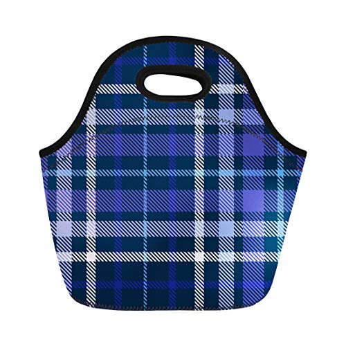 Semtomn Lunch Tote Bag Shadow Plaid Pattern Checkered in Shades of Blue Indigo Reusable Neoprene Insulated Thermal Outdoor Picnic Lunchbox for Men Women
