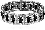 1928 Jewelry Silver-Tone Black Marquise-Shaped Stone Stretch Bracelet