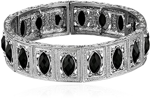 1928 Jewelry Silver-Tone Black Marquise-Shaped Stone Stretch (Marquise Shaped Stones)