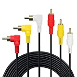 3 RCA Cable(6FT) - Premium Gold Plated 90 Degree Right Angle RCA Audio / Video Cable 3 Male To 3 Male Composite Video Audio A/V AV Cable