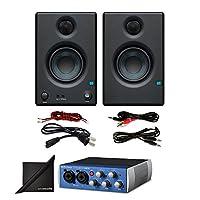 "Presonus AudioBox USB 96 Audio Interface w/PreSonus Eris E3.5 3.5"" Monitoring Speakers (Pair) and eStudioStar Polishing Cloth"