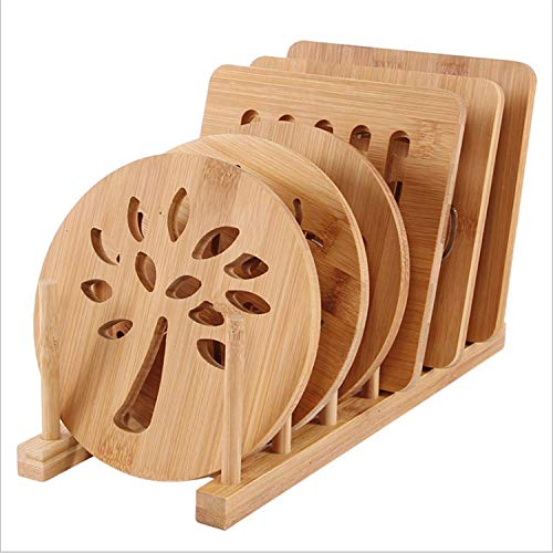 CL 1949 6 Piece Set Wooden Table Insulation Pad Round Home Multi-Function Non-Slip Placemat Bamboo Thick Anti-scalding Bowl Mat Placemat