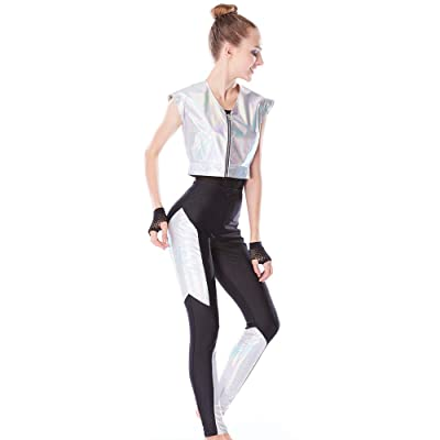 MiDee Dance Costumes Hip-Hop Gymnastics Aerobics Sports Performance Foiled Silver 6 Pieces: Clothing [5Bkhe1401807]