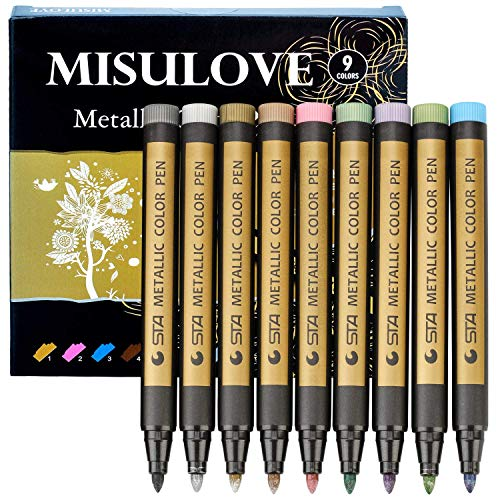 MISULOVE Metallic Markers Pen for Rocks Painting - Medium tip, for Scrapbooking, Easter Egg, Glass, Acrylic Painting, Art Projects, Card Making Supplies, Set of 9 Vibrant Colors Paint Markers