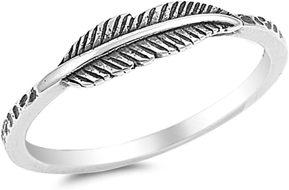 Oxidized Leaf Fashion Feather Ring New .925 Sterling Silver Band Size 3-12