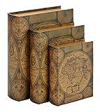 Designed Wood Leather Book Box (Brown Globe)