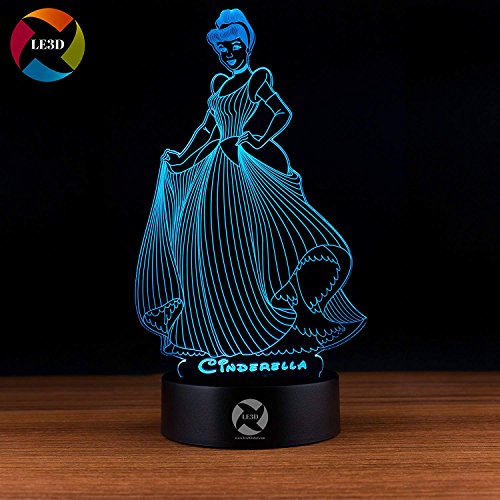 3D Optical Illusion Night Light - 7 LED Color Changing Lamp - Cool Soft Light Safe For Kids - Solution For Nightmares - Disney Princess (Disney Cinderella Night Light)