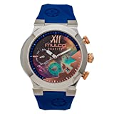 Mulco Gravity Galaxy Analog Chronograph Watch- Premium Multicolor Analog Sundial With Blue 100% Silicone Band- Rose Gold Accents- Water Resistant Stainless Steel -Women's MW5-4977-043