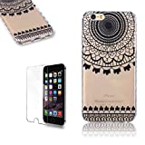 iPhone 5/5S/SE Case [with Free Screen Protector], FunPlus Transparent Soft Silicone Gel Ultra Thin TPU Beautiful (Black Wind Chime) Pattern Design Protective Case Cover