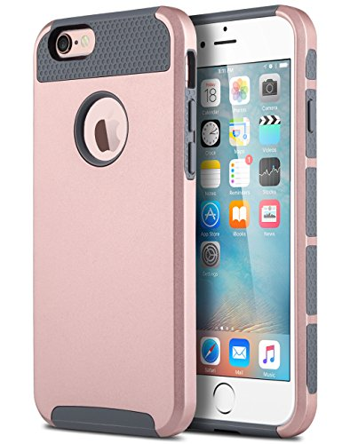 iPhone 6s Case, iPhone 6 Case, ULAK Colorful Series Slim Hybrid Dual Layer Scratch Resistant Hard Back Cover Shock Absorbent TPU Bumper Case for Apple iPhone 6/6s 4.7 inch (Rose Gold+Grey)