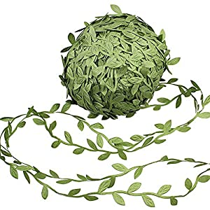 Supla 327 Ft Artificial Vines Fake Hanging Plants Leaves Ribbon Leaf Vine Trim Foliage Rattan DIY Wreath Foliage Green Leaves Ribbon Decorative Home Wall Garden Wedding Party Wreaths Decor 19
