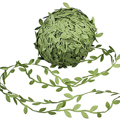 Supla 327 Ft Artificial Vines Fake Hanging Plants Leaves Ribbon Leaf Vine Trim Foliage Rattan DIY Wreath Foliage Green Leaves Ribbon Decorative Home Wall Garden Wedding Party Wreaths Decor (Diy Ball Rattan Lights)