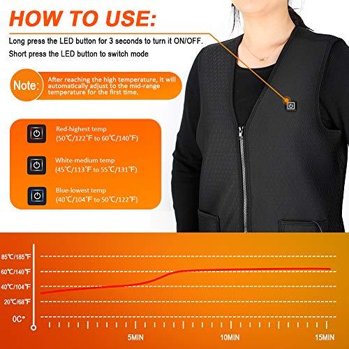 Gilet Chauffant Homme et Femmes Chargement USB Hiver Vêtement Chauffant Lavable Chauds Gilet Chauffé pour Activités de… 3