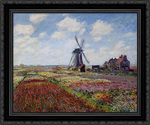 (Fields of Tulip With The Rijnsburg Windmill 24x20 Black Ornate Wood Framed Canvas Art by Monet, Claude)