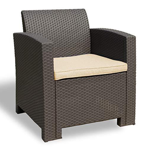 Winsday Patio Resin Plastic Rattan Pattern Furniture Outdoor Garden Single Sofa Armchair Outdoor Chair Brown with Beige Cushion (Armchair, Beige)