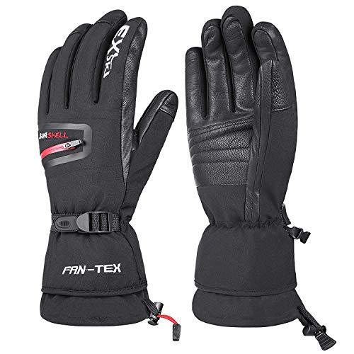 EXski Waterproof Mens Ski Gloves, -30℉ (-34℃) Winter Warm 3M Thinsulate Genuine Leather Extreme Cold Weather Gloves