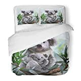 Emvency Decor Duvet Cover Set Twin Size Animal Koala and Her Baby Watercolor Painting Drawing Australia Australian Bear Cute 3 Piece Brushed Microfiber Fabric Print Bedding Set Cover