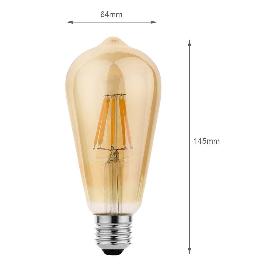 KJLARS 3x ST64 E27 8W Antiguo de Edison Estilo Bombilla Filamento LED 2300K 640Lúmenes Blanco Cálido 360° Ángulo del Haz: Amazon.es: Iluminación