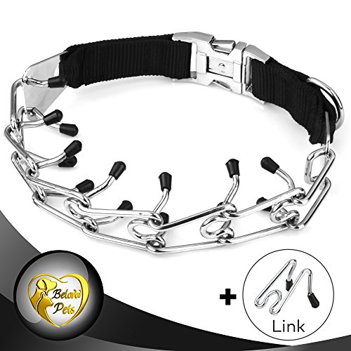 Beloved pets Prong Training collar CLASP - Stainless Steel with silver plating - Available in 4 sizes: S, M, L, XL - Durable Collar for All Dogs (XL (23.5 inch)) - Limited Choke Collar