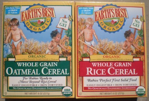 Earth's Best Organic Whole Grain Oatmeal & Whole Grain Rice (One 8 Oz Box of Each) by Earth's Best (Image #1)