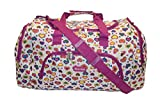 24' Womens Girls Large Weekend,Hospital, Maternity,Travel, Flight, Luggage, School, College Holdall, Sport Gym Bag (24' White Hearts)