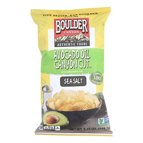 Boulder Canyon Natural Foods Avocado Oil Canyon Cut Potato Chips - Sea Salt - Case of 12 - 5.25 oz. by Boulder Canyon