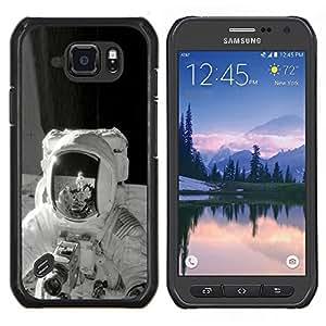 Qstar Arte & diseño plástico duro Fundas Cover Cubre Hard Case Cover para Samsung Galaxy S6Active Active G890A (Retro de la luna)