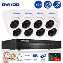 OWSOO 16CH CIF 1TB Hard Drive DVR with 8PCS Night Vision Built-in Waterproof IR LED Indoor 800TVL IR Cameras Surveillance CCTV Security Camera System - White
