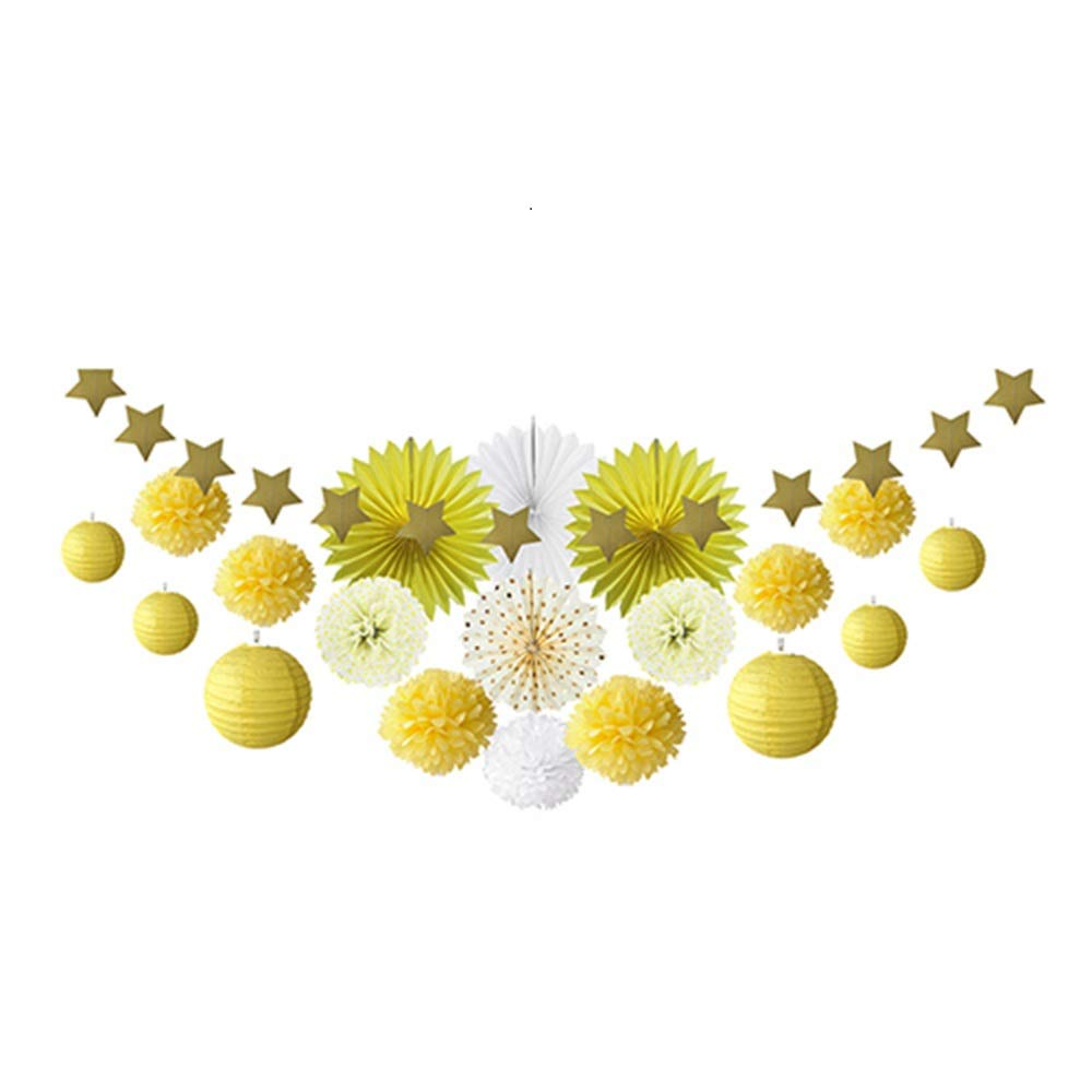 20pcs Mint Green Party Decoration Kit Paper Fans Lanterns Pom Pom Star Garland Hanging Decor for Event Birthday Wedding Shower (Yellow)