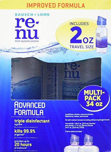 - Bausch + Lomb Renu Multi-purpose solution - 2 x 16 fl. oz. bottles + 1 2 fl. oz bottle