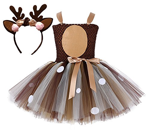 Tutu Dreams Halloween Reindeer Costume Kids Girls Birthday Party Dress with Horns Headband (Deer, L) -