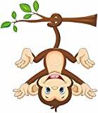 Decals Design 'Monkey Hanging Below The Branch with Tail' Wall Sticker (PVC Vinyl, 50 cm x 70 cm, Multicolour)