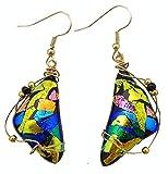 Renata Glass Drop Earrings Multi-colors, Gold Plate Fishhooks, Design