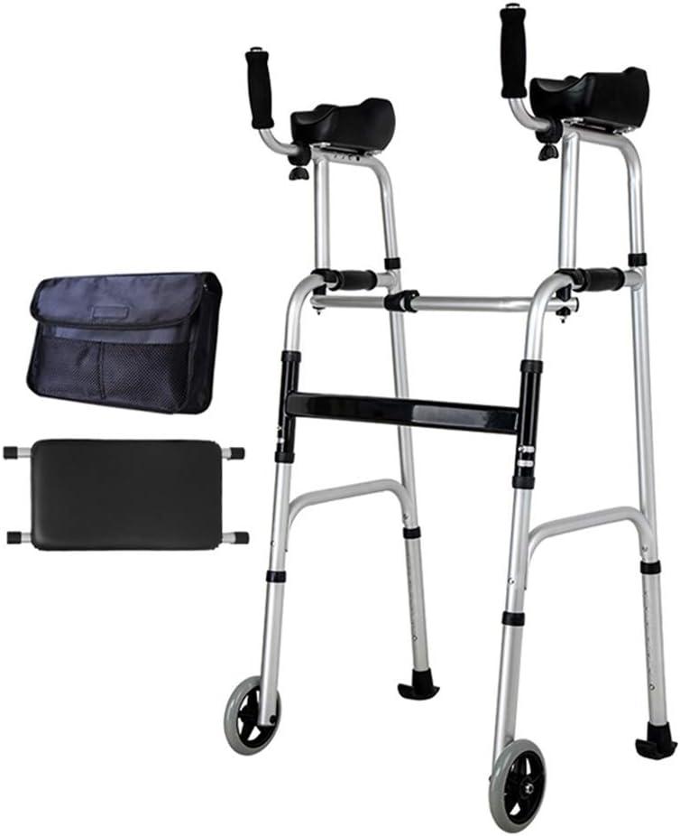 トイレウォーカートイレチェアトイレウォーカー高齢者4脚車輪杖バススツール付き曲がった肘