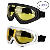 #8: LJDJ Motorcycle Goggles - Glasses set of 2 - Dirt Bike ATV Motocross Anti-UV Adjustable Riding Offroad Protective Combat Tactical Military Goggles for Men Women kids Youth Adult