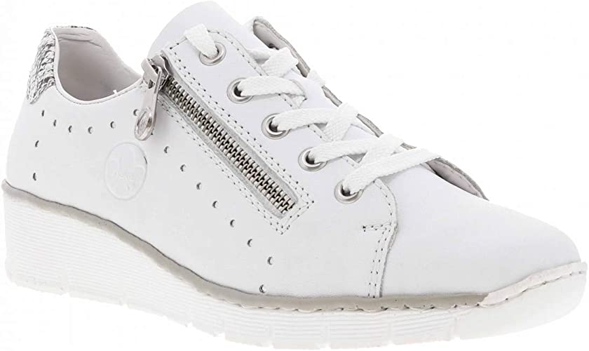 Rieker 53701-80 White Leather Womens